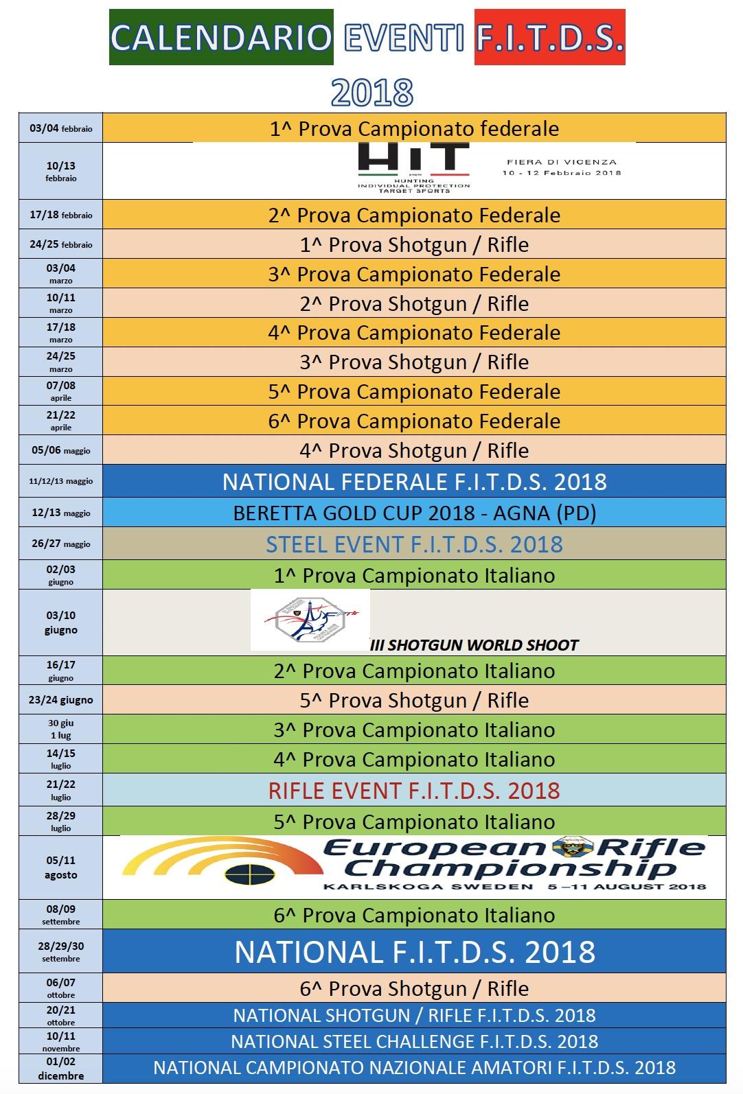 Calendario Nazionali.Calendario Eventi Nazionali 2018 F I T D S