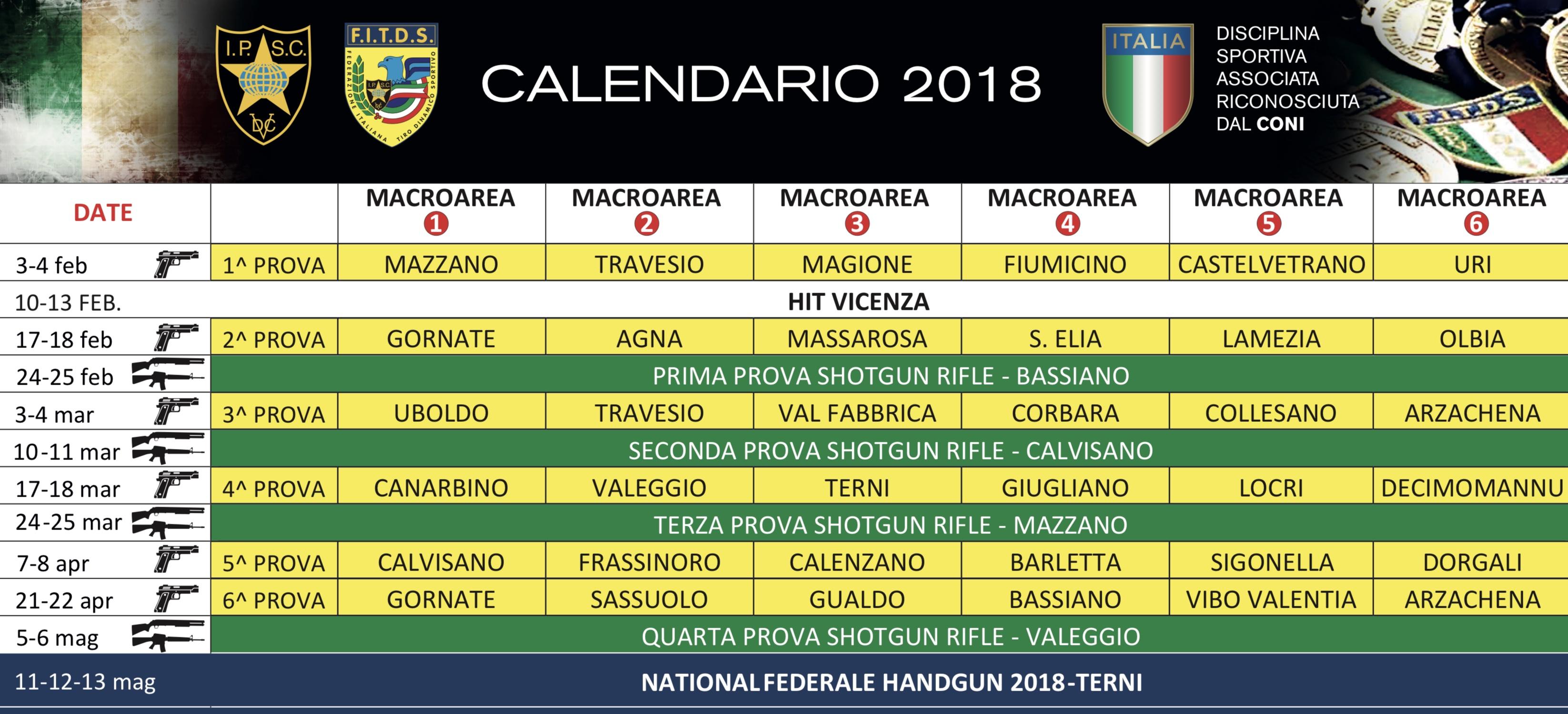 Calendario Nazionali.Calndario Gare Nazionali 2018 F I T D S